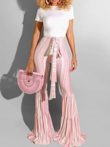 Pink-White Pleated Sashes High Waisted Extreme Flare Bell Bottom Long Pants