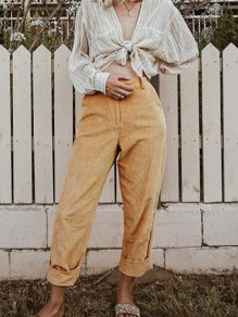 Brown Pockets High Waisted Corduroy Haren Cargo Vintage Long Pants