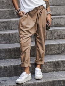 Khaki Patchwork Pockets Irregular Elastic Waist New Fashion Latest Women Pants