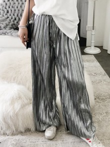 Silver Patchwork Pleated Elastic Waist Long Wide Leg Palazzo Pants