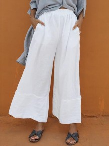 White Patchwork Draped Elastic Waist Elegant Wide Leg Palazzo Pants