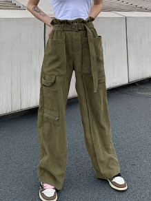 Army Green Pockets Comfy Fashion Long Casual Dungarees Pants
