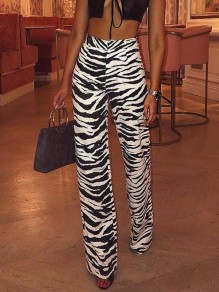 Black White Striped Pattern Fashion Wide Leg Palazzo Pants