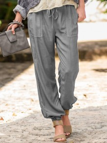 Grey Drawstring Pocket High Waisted Loose Fashion Long Pants
