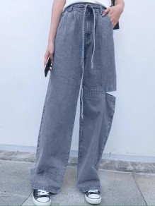 Blue Pocket Sashe Ripped Destroyed High Waisted Wide Leg Vintage Boyfriend Long Jeans