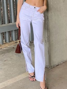 White Pocket Slit High Waisted Oversize Vintage Long Jean Pants