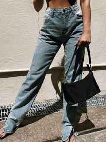 Blue Pocket Slit High Waisted Oversize Vintage Long Jean Pants