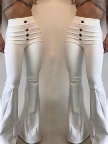 White Patchwork Pockets Buttons High Waisted Push Up Fashion Flare Bell Bottom Pants