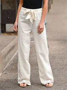 White Patchwork Belt Bow Fashion Long Wide Leg Palazzo Pants