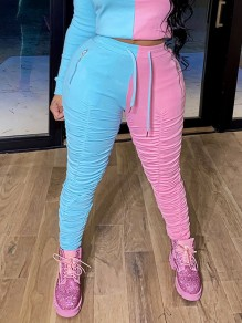 Blue-Pink Drawstring Pockets Zipper Scrunch Casual Sports High Waisted Long Pant