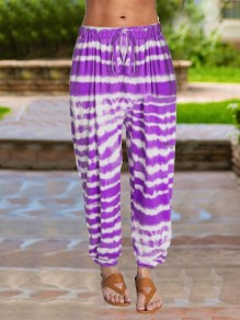 Purple Tie Dyeing Drawstring Pleated Harem Casual Sports High Waisted Long Pant