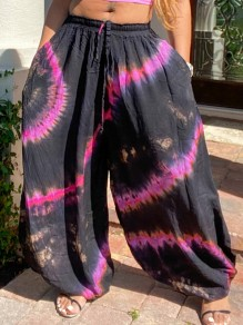 Black Tie Dyeing Pleated Harem Casual Bohemian High Waisted Long Pant