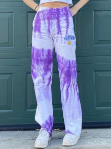 Purple Tie Dye Embroidery High Waisted Boyfriend Long Pants