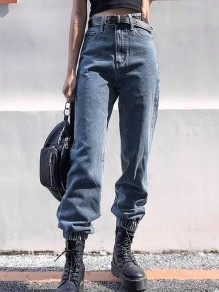 Dark Blue Pocket Loose High Waisted Boyfriend Long Jean Pants