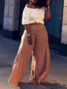Pink Pleated High Waisted Party Wide Leg Palazzo Long Pant