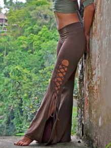 Green Lace-up Side Slits Pagan High Waisted Bell Bottomed Flares Long Pant