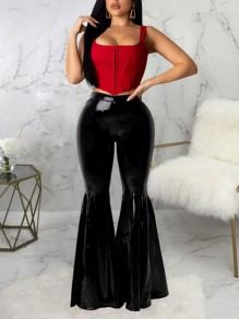 Black High Waisted PU Leather Bell Bottomed Flares Long Pant