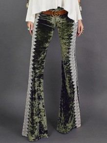 Green Patchwork Lace Velvet Bell Bottomed Flares Long Pant