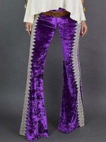 Purple Patchwork Lace Velvet Bell Bottomed Flares Long Pant