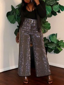 Grey Patchwork Sequin Sparkly Glitter Birthday High Waisted Wide Leg Palazzo Casual Long Pant