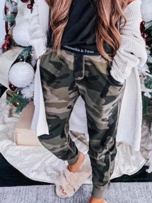 Green Camouflage Pockets Bodycon Comfy Ttrendy Going out Pants