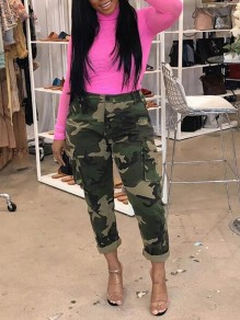 Army Green Camouflage Pockets High Waisted Cargo Haren Long Pants