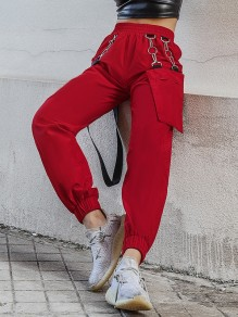 Red Chain Removable Pocket Belt High Waisted Fashion Boyfriend Cargo Hip Hop Long Pants