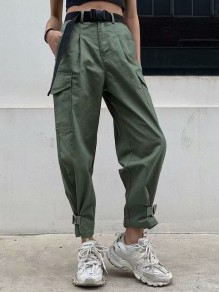 Army Green Pockets Belt High Waisted Fashion Long Pants