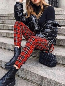 Red Plaid Print Zipper High Waisted Fashion Long Pants