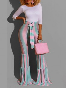 Pink Striped Print Belt Lace-up High Waisted Flare Bell Bottom Long Pants