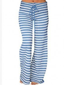 Blue White Striped Drawstring Fashion Wide Leg Yoga Pajamas Pants