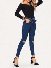 Sapphire Blue Sashes Destroyed Fashion Long Jeans