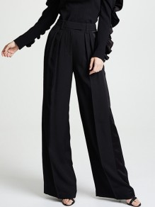 Black Patchwork Pockets Pleated High Waisted Elegant Long Wide Leg Palazzo Pants
