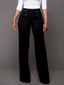 Black Double Breasted High Waisted Fashion Elegant Long Pants