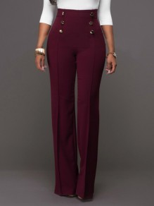 Burgundy Double Breasted High Waisted Fashion Elegant Long Pants