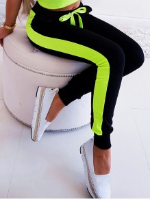 Green Drawstring Hit Color Bodycon Comfy Sports Pants