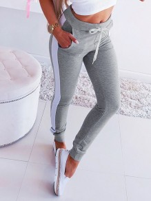 White Drawstring Hit Color Bodycon Comfy Sports Pants