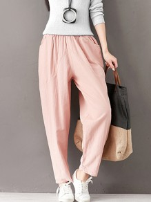 Pink Pockets High Waisted Fashion Loose Nine's Pants