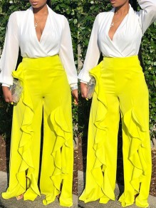 Neon Yellow Patchwork Ruffle Slit Wide Leg Palazzo Casual Long Pants