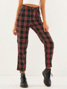 Red-Black Plaid Print Buttons High Waisted Casual School Long Pants