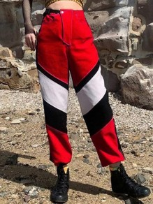 Red Patchwork Pockets Belt High Waisted Fashion Cargo Sport Jogger Sweat Long Pants