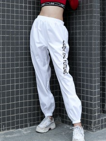 White Monogram Print High Waisted Fashion Long Pants