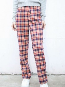 Red Plaid Print Buttons High Waisted Fashion Long Pants