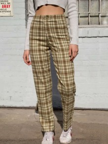 Green Red Plaid Print Buttons High Waisted Fashion Long Pants