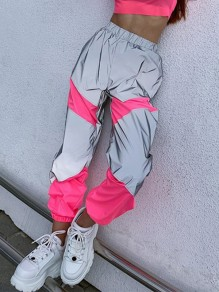 Pink Patchwork Pockets High Waisted Reflective Fashion Long Pants