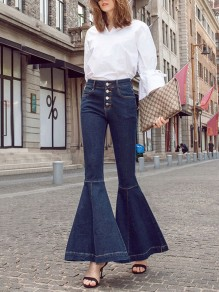 Dark Blue Patchwork Pockets Buttons High Waisted Fashion Bell Bottom Flare Jeans Pant