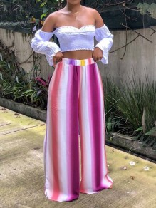 White Rose Carmine Striped Gradient Color High Waisted Wide Leg Casual Long Pants