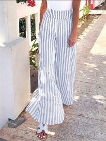 Blue Striped Elastic Waist Fashion Wide Leg Flare Pant