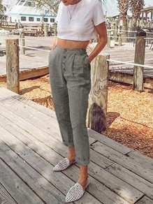Grey Patchwork Pockets Buttons High Waisted Fashion Pant