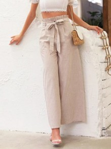Apricot Striped Belt Ruffle High Waisted Fashion Wide Leg Pant